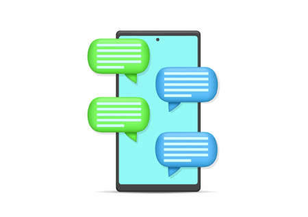 Vector illustration smartphone with bubble chat. Isolated on white Illustration