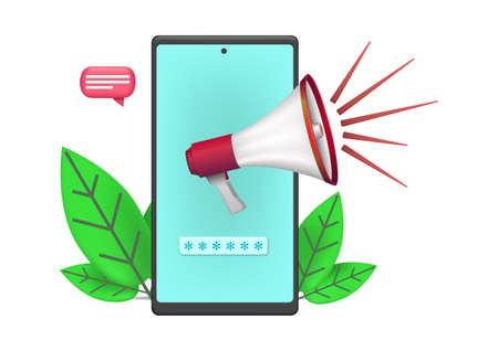 promotion icon with smartphone and megaphone illustration