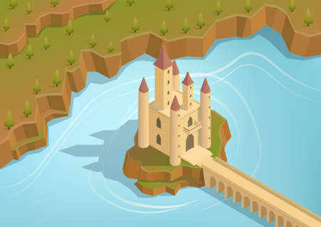 Isometric castle on an island in the middle of a lake with a long bridge Illustration