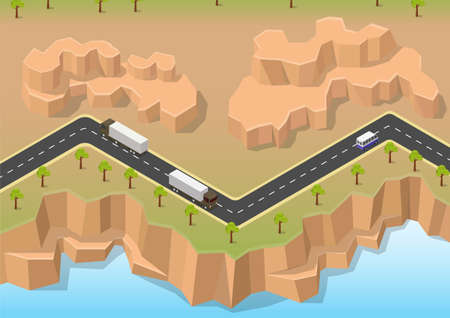 Isometric road between river and rock