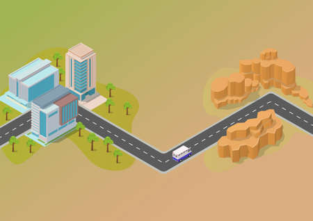 isometric map concept with road city and desert