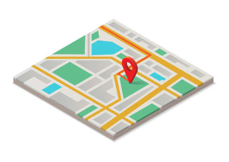 isometric map with red pointer Illustration