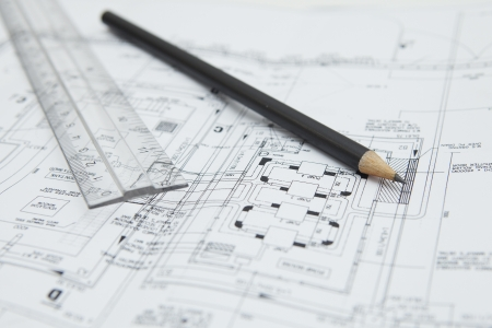 contruction: Pencil and ruler on blueprint