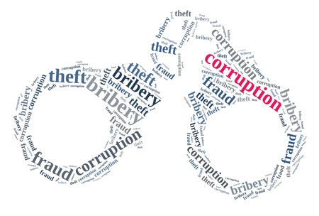 Corruption in word cloud composed in handcuff shape