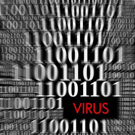 virus informatico: Virus con el desenfoque de movimiento de código binario