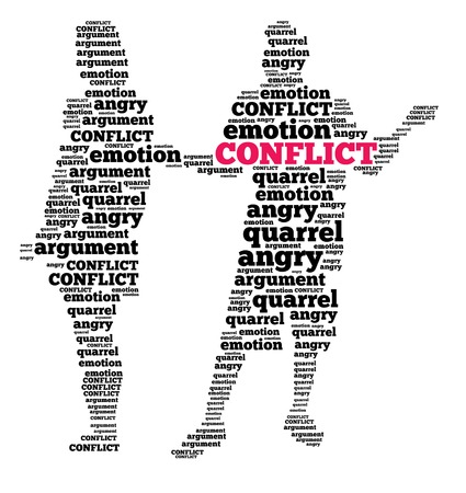 Conflict in word cloud photo