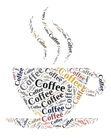 Coffee in word cloud photo