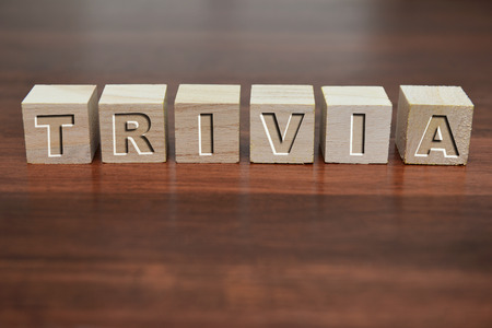 trivia: Word trivia written on wooden cube against a defocussed background.