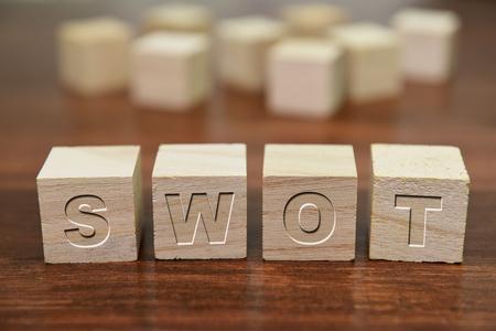 economic theory: SWOT analysis written on wooden cube