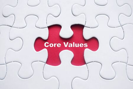 Fehlende Puzzle mit Core Values ??Wort