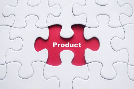 Missing puzzle with Product word Reklamní fotografie