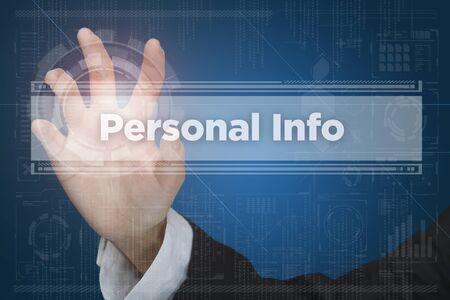 Pantalla táctil de interfaz de realidad virtual: Información personal