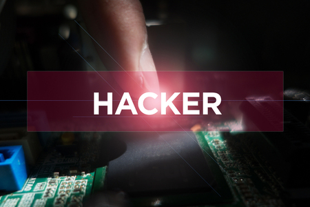 Cyber Security Concept: Close-up of electronic circuit board with Hacker Reklamní fotografie