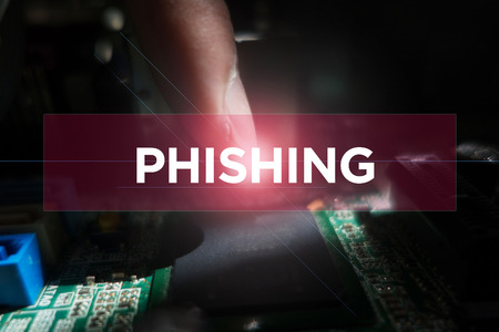 Cyber Security Concept: Close-up of electronic circuit board with Phishing