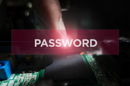 Cyber Security Concept: Close-up of electronic circuit board with Password