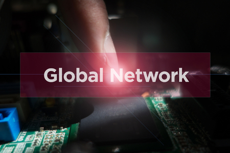 Close-up of electronic circuit board with word: Global Network Reklamní fotografie