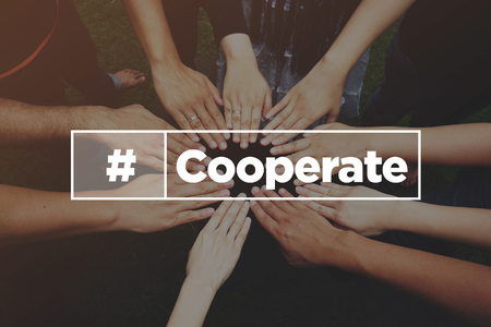 Collaboration Concept with text: Cooperate