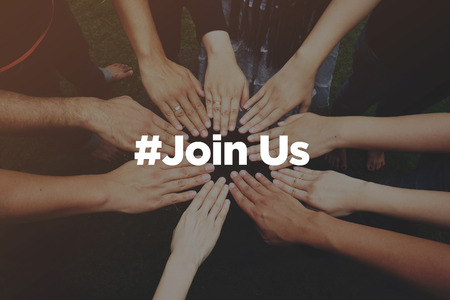 Collaboration Concept with text: Join Us Stock Photo