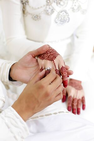 a groom put on a ring wedding to the bride