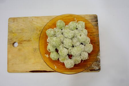 Asian traditional kueh, kuih Onde Onde or Klepon