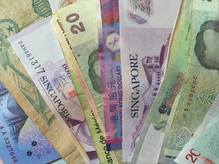 papermoney: A close up shot of foreign currencies. Stock Photo