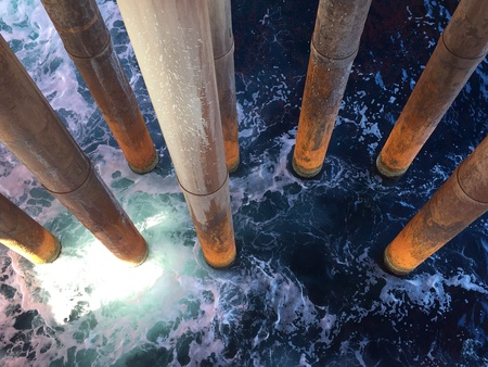 corrosion: A top view shot of riser pipelines taken at an offshore platform Stock Photo