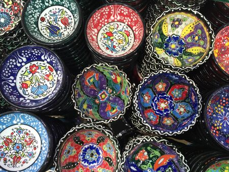 colorful: A shot of assortment of colorful handcrafted bowls. Stock Photo