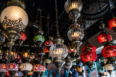 lighting fixtures: A shot of selection of hanging lamps taken at a local shop in Istanbul Turkey.