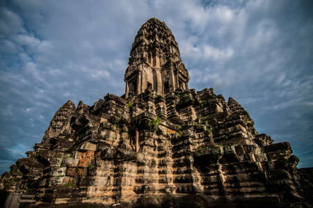 low angle: A low angle shot of one of the temple in Angkor Wat, Siem Reap, Cambodia.