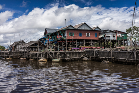 stilts: A shot of houses on stilts taken in Siem Reap, Cambodia.