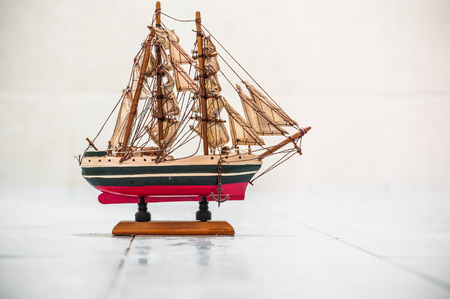 scaled: A shot of a scaled down size wooden ship.