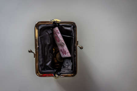 coin purse: A top view shot of a coin purse. Stock Photo