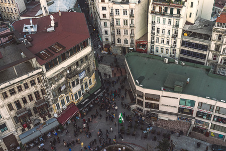 crowded street: Shot of high angle view of a busy and crowded street in Istanbul, Turkey