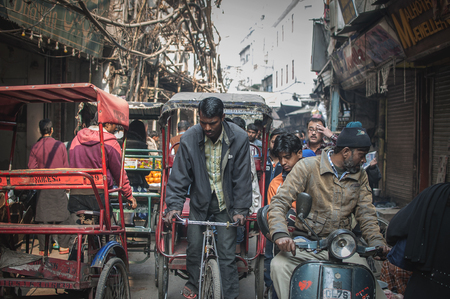 Old Delhi, India : February 15th, 2015 - A shot busy street in Old Delhi, India