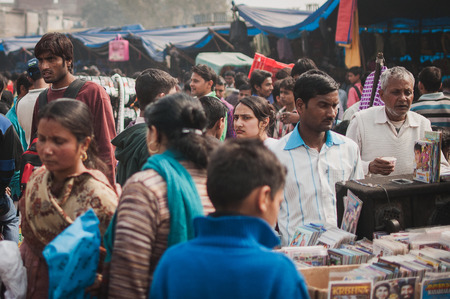 Old Delhi, India : February 15th, 2015 - Shot of a busy street in Old Delhi, India.