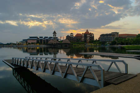 Putrajaya Lake is located at the centre of Putrajaya city, Malaysia  This 650ha man-made lake is designed to act as a natural cooling system for the city and also for recreation, fishing, water sports and water transport  photo