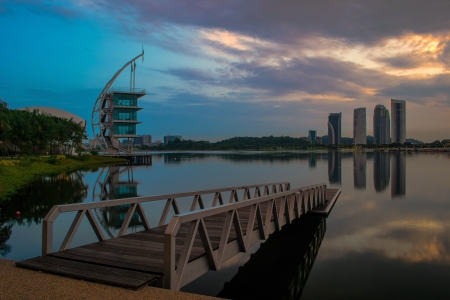 Putrajaya Lake is located at the centre of Putrajaya city, Malaysia  This 650ha man-made lake is designed to act as a natural cooling system for the city and also for recreation, fishing, water sports and water transport