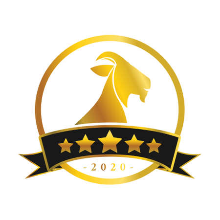 transparent golden goat head with five star banner