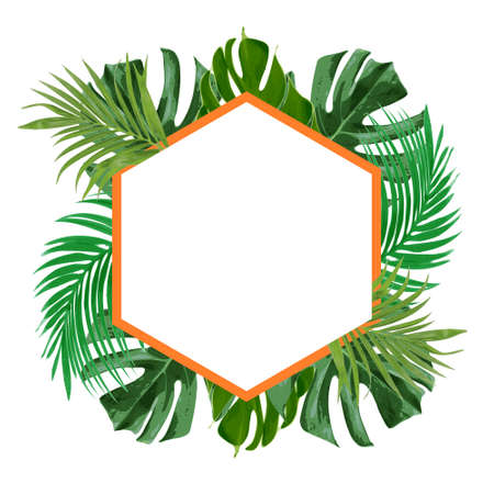 fresh green tropical floral decorative frame vector  イラスト・ベクター素材