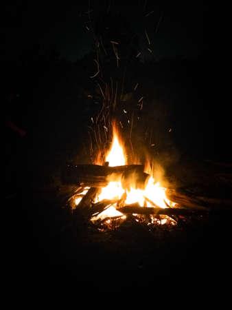 small bonfire in the dark of night