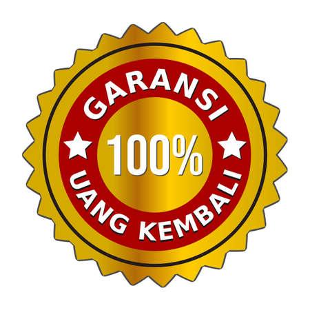 """Vector 100 percent HD money back guarantee golden badge in Indonesian.  in bahasa : """"Vektor lencana emas jaminan uang kembali 100 persen HD"""""""