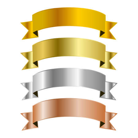 Set of ribbon vector templates with gold, brass, silver and bronze gradients
