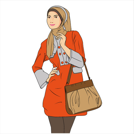 indonesia culture: Muslim Woman shopping Illustration