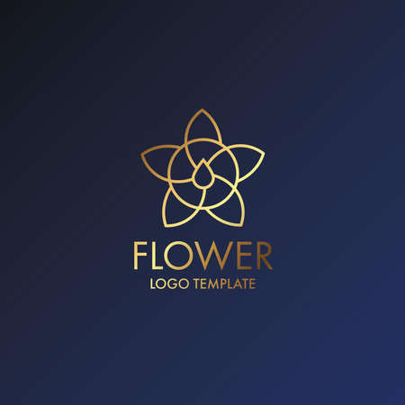 A Luxury Logo Flower with drop water icon or Floral emblem. For Business, Royal, Hotel, Villa Interior Icon and Resort. Logo