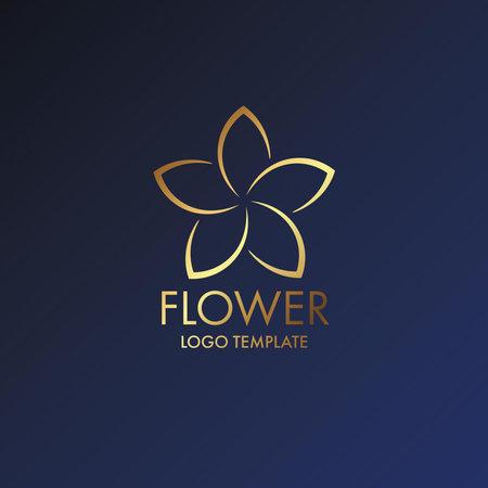 Beautiful flower gold luxury decoration vector logo