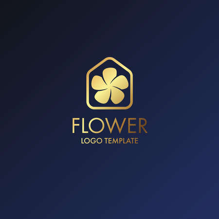 A Luxury Logo Flower with drop water icon or Floral emblem. For Business, Royal, Hotel, Villa Interior Icon and Resort.