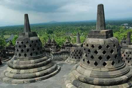 stupas: Stupas of Borobudur Temple  Stock Photo