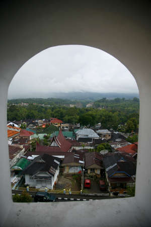 bukit: views of bukit tinggi city behind the window Stock Photo