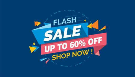 Flash Sale, Colorfull Sale Banner Label