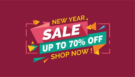 New Year Sale, Colorfull Sale Banner Label Archivio Fotografico - 124883518